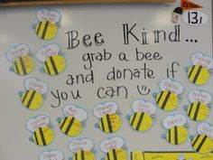 Buzzing along in first grade: great idea for a donation board for open house