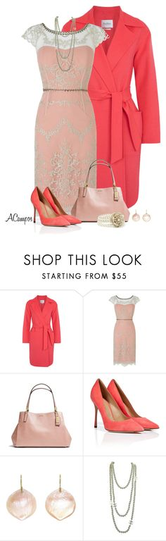"""Coral Lace Dress"" by anna-campos ❤ liked on Polyvore featuring MaxMara, Phase Eight, Coach, Sergio Rossi, Annette Ferdinandsen, Chanel and Forever New"