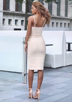 cream bandage dress