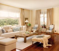 pretty living room with a picture window Beige Living Rooms, Indian Living Rooms, Home Living Room, Living Room Decor, Living Spaces, Living Room Partition Design, Room Partition Designs, Style At Home, Sala Indiana