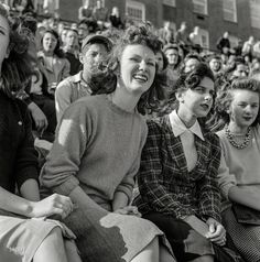 """October 1943. """"Washington, D.C. Football fans at Woodrow Wilson High School."""" Photo by Esther Bubley for the Office of War Information. :: Shorpy Historic Picture Archive :: Sweater Weather: 1943 high-resolution photo"""
