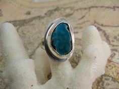 Wild Blue Hemimorphite Druzy & Sterling Silver Ring. $120.00, via Etsy.