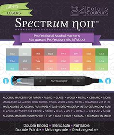 Nice variety of colors, less expensive than copic markers. Crafter's Companion Spectrum Noir Alcohol Markers, Lights, 24 Per Package affiliate