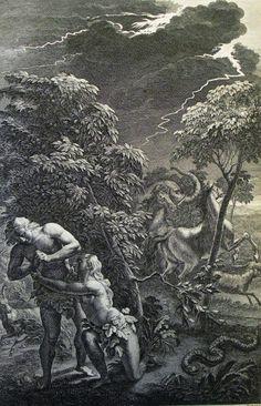 The Phillip Medhurst Picture Torah 22. Adam & Eve dicovered. Genesis cap 3 vv 9&19. Hoet