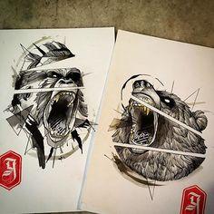 Selva_ #studiogoma #goma90 #tattoo #sketch #sketchtattoo #bear #gorilla #draw…