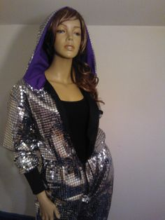 SILVER Human Mirror Ball Onesie for alien outfits.