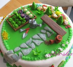 Gardening Cake For All Your Cake Decorating Supplies Please Visit Craftcompany Co Fancy Cakes, Cute Cakes, Pretty Cakes, Beautiful Cakes, Amazing Cakes, Beautiful Boys, Allotment Cake, Bolo Rapunzel, Dad Birthday Cakes