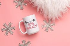 Dear Santa, Define Naughty Mug, Funny Christmas Mug, Christmas Mug by SweetSipsShop on Etsy Christmas Mugs, Funny Christmas, Menu Printing, Labour Day, Looking Forward To Seeing You, Dear Santa, No Response, Conditioner, Etsy