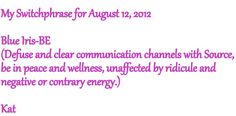 August 12, 2012 Switchphrase