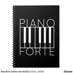Pianoforte (white over black) spiral note book