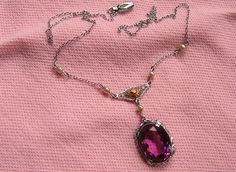 Vintage Art Deco Filigree 10K White Gold Lavaliere Necklace Amethyst Seed Pearls | eBay
