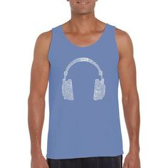 Los Angeles Pop Art Men's Tank Top - 63 Different Genres Of Music, Size: Large, Multicolor