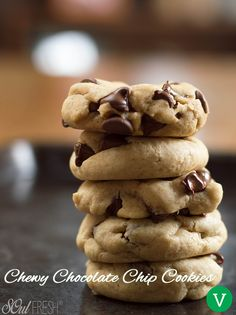 Vegan Chewy Chocolate Chip Cookies - one bowl, easy to make and yummy, chewy, chocolate-y goodness awaits! Best Vegan Chocolate Chip Cookies! #vegan #cookies #dessert #chocolatechip #giveaway #contest