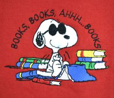 Vtg 80's Red PEANUTS Collection SNOOPY Reading Books Patch Sweatshirt Shirt XL