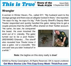 The Story of the Week from this week's ThisIsTrue.com newsletter. Sometimes the tagline just write themselves. This time, that's literal: it really is a quote from the sheriff! Weird But True, So True, Sheriff, Thought Provoking, True Stories, Entertaining, Thoughts, Writing, Sayings