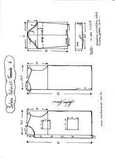 Esquema de modelagem de jaleco infantil tamanho 6.