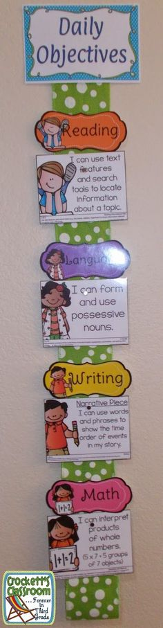 Small display for Classroom Objectives on visual timetable,-reminds teaches to make objectives clear,helps kids check learning.wipe clean not printed text though for ease of reuse Objectives Display, Classroom Objectives, Objectives Board, Daily Objectives, 3rd Grade Classroom, Classroom Organisation, Learning Objectives, Classroom Displays, School Organization