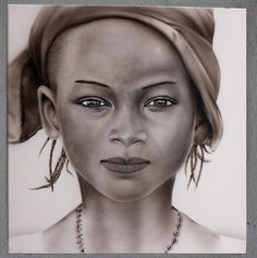 African girl airbrush portrait painting on canvas