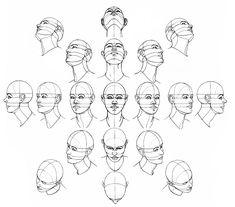 How to Draw a Head from Many Angles - Use this drawing tutorial to teach high school students proportion and positioning. Great drawing ideas for sketchbook assignments. Drawing The Human Head, Brain Drawing, Drawing Heads, Drawing Skills, Drawing Lessons, Drawing Techniques, Figure Drawing, Drawing Sketches, Painting & Drawing