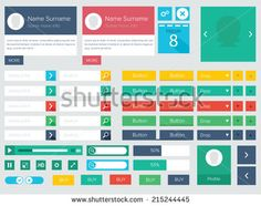 Flat ui kit design elements for website with profile box, icons, buttons, player and calendar / Flat ui kit design elements for webdesign