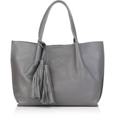 Nadia Minkoff - The Richmond Midi Tote Grey ($230) ❤ liked on Polyvore featuring bags, handbags, tote bags, leather man bags, handbags totes, leather handbags, purse tote and leather tote