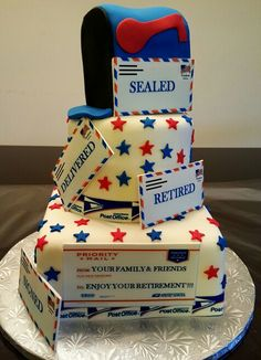 Postal office cake Retirement Party Cakes, Retirement Party Decorations, Retirement Ideas, Retirement Wishes, Office Birthday, 10th Birthday, Birthday Cakes, Military Cake, Realistic Cakes