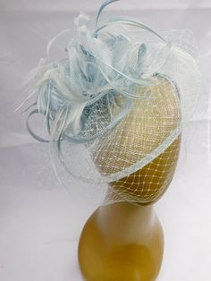 Baby Blue Fascinator Womens Tea Party Hat Church by QueenSugarBee