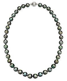 Pearl Necklace, 14k White Gold Round Tahitian Pearl Strand (9-11mm) /5000