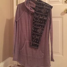 Maurice's plum tunic with Aztec leggings. Plum Maurices tunic with hood and front pocket. Size M. **Bonus- Aztec print leggings with plum coloring design** leggings size small Maurices Tops Tunics