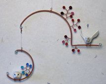 Birds and Beads Mobile-- Medium, Two-Tiered Hanging Sculpture, Hanging Art, Kinetic Art, Kinetic Sculpture