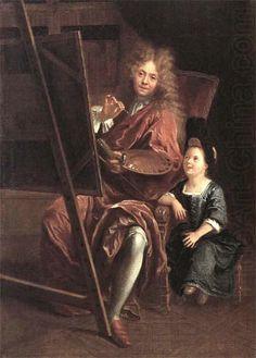Charles-Antoine Coypel, Autoportrait au chevalet avec son fils