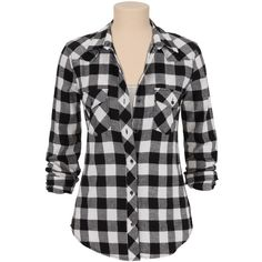 Silver Jeans ® Black And White Checked Flannel Shirt