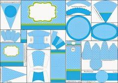 Completo Kit para Fiestas para Imprimir Gratis. Azul y Verde Limón.