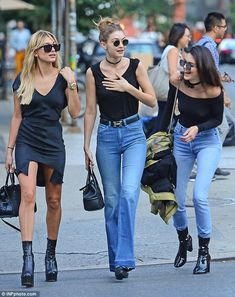 Babes of the moment:Walking down the street in their on-point looks it was obvious why they are fashion's most in-demand personalities at the moment