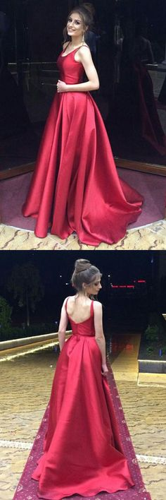 red long prom party dresses, fashion formal evening gowns, simple party dresses.