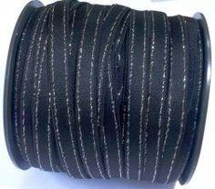 Elástico 10mm Leila Preto Lurex Prata- Pç com 5m