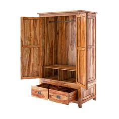 Delaware Rustic Solid Wood Wardrobe Armoire With Drawers Nightstand Set Of 2, Mirrored Nightstand, Armoire Dresser, Six Drawer Dresser, Clothing Armoire, Jewelry Armoire, Solid Wood Wardrobes, Wood Bedroom Sets, Mattress Dimensions