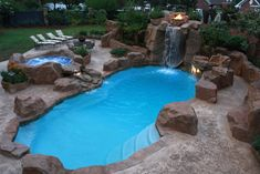 Great Idea 9 Fabulous Rock Swimming Pool Design Ideas For Your Home Backyard The house will feel more complete if there is a swimming pool in it. Not only can a swimming pool be used for swimming, but you can also make it a pla. Backyard Pool Landscaping, Backyard Pool Designs, Small Backyard Pools, Swimming Pools Backyard, Pool Spa, Swimming Pool Designs, Outdoor Pool, Small Backyards, Backyard Ideas