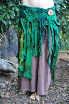Felt Melted Wood Nymph Tree Roots Silk Green Hand Dyed Belt Skirt OOAK. $182.00, via Etsy.
