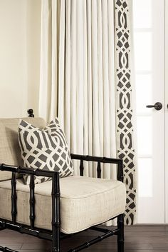 Estate Linen Custom Drapery by DrapeStyle with leading Edge-Band in Schumacher Imperial Trellis