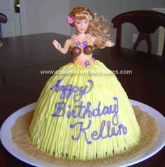 Homemade Hula Girl Birthday Cake: We were hosting my daughters 3rd birthday party  and we were having a family luau.  For the Hula Girl Birthday Cake I wanted a hula dancer.  I made a