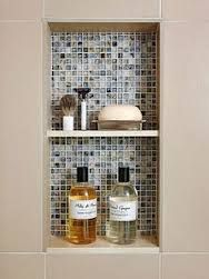 Bathroom Shower Tile Ideas - Nice idea: make a built in shelf to hide bathroom inspiration decor design Bathroom Renos, Small Bathroom, Bathroom Stuff, Bathroom Ideas, Design Bathroom, Bathroom Remodeling, Bath Design, Bath Ideas, Bathroom Furniture
