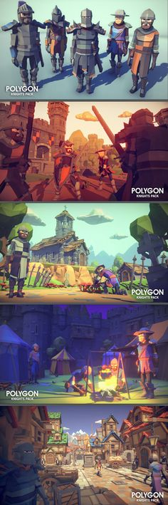 A low poly asset pack of characters, buildings, props, items and environment assets to create a fantasy based polygonal style game. Modular sections are easy to piece together in a variety of combinations. Game Environment, Environment Concept, Environment Design, Game Character Design, Game Design, Low Poly Games, Pix Art, Polygon Art, Unity 3d