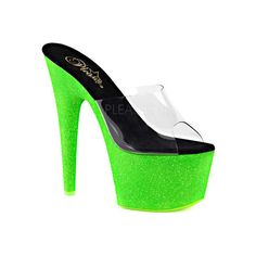 Women's Pleaser Adore 701UVG Platform Slide - Clear PVC/Neon Green... ($67) ❤ liked on Polyvore featuring shoes, casual, casual footwear, pleaser shoes, glitter shoes, sexy platform shoes, sexy stilettos and platform shoes