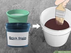 How to Stain Brick. People stain brick for many reasons: to make repairs match the rest of the wall, to complement surrounding decor, or just to create a great color change. Unlike paint, stain will seep into and bond with the brick,. Stained Brick Exterior, Stain Brick, Types Of Bricks, Brick Steps, Water Based Stain, Brick Patios, Water Stains, Painters Tape, House Front