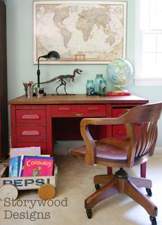 Literally what my desk looks like: globe, dinosaurs, world map, wood chair, big ol' desk. Storywood Designs Vintage Teacher Desk makeover with ASCP and refinished top