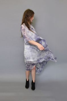 Image of Dust & Drag - Phantom Grey Silk Chiffon Dress