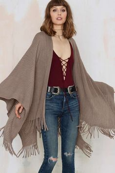 Shawl it a Day Fringe Poncho - Gray | Shop Clothes at Nasty Gal!
