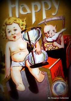 243 Father Time Driving Time Machine and Baby New Year with Hourglass 243 post card Father Time on MHC Virtual Museum My Hourglass Collection