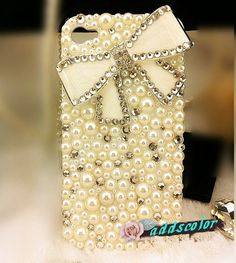 FREE SHIPPING Sweet White Bowknot Pearl Crystal iPhone 4 4s cases Handmade Luxury Swarovski Rhinestone cover Custom Cute iPhone 5 Case